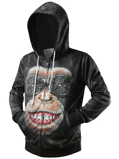Side Pocket Zip Up 3D Gorilla Printed Hoodie - BLACK L