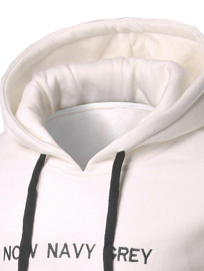 Kangaroo Pocket Letter Embroidery Pullover Hoodie - WHITE M