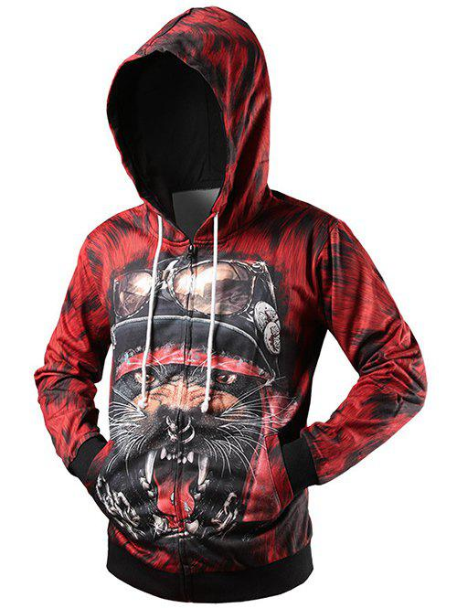 Zip Up Rib Insert 3D Animal Printed HoodieMen<br><br><br>Size: 2XL<br>Color: RED