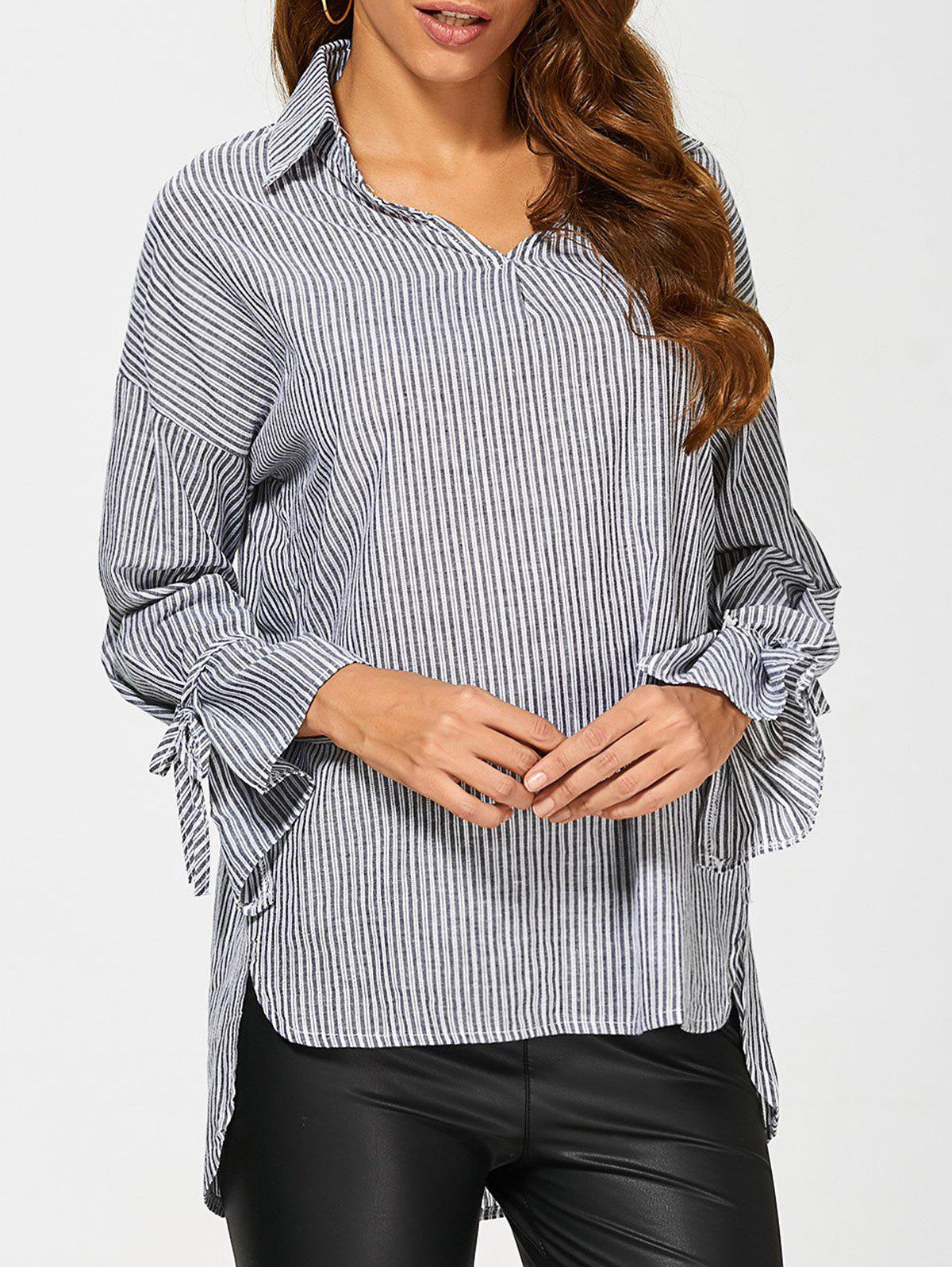 Pinstriped High Low Blouse - BLACK L