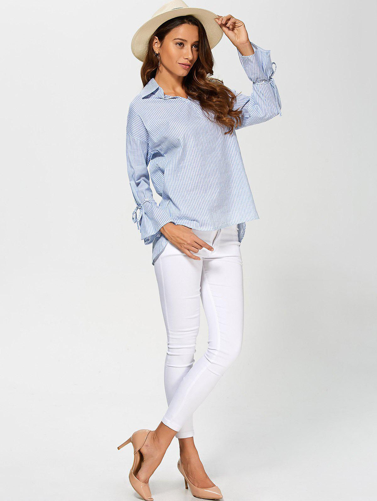 Pinstriped High Low Blouse - LIGHT BLUE L