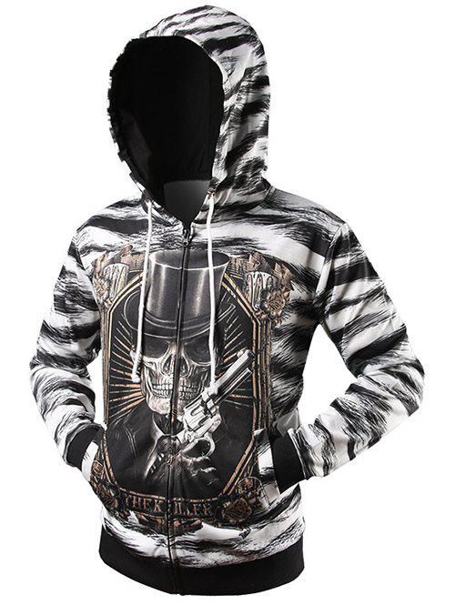 Zip Up Zebra Striped Graphic Hoodie - BLACK 2XL
