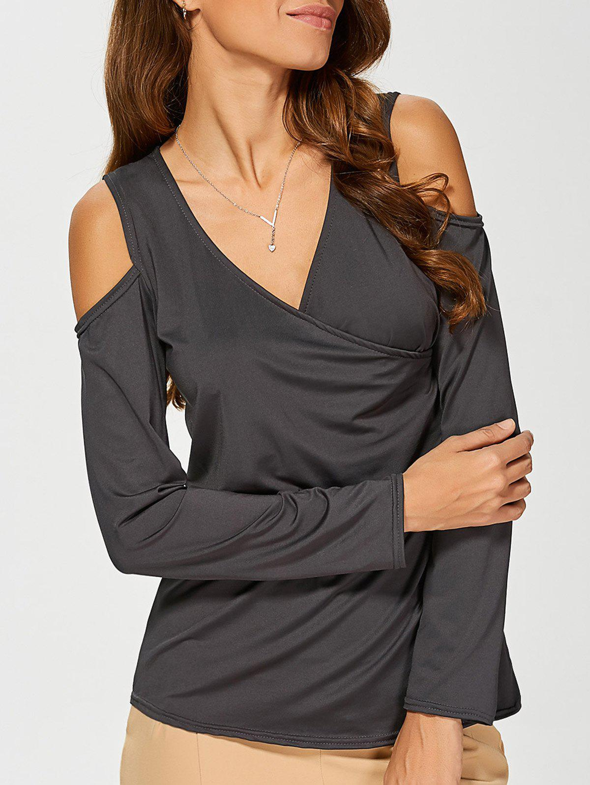 Cold Shoulder Slimming T-Shirt - DEEP GRAY S