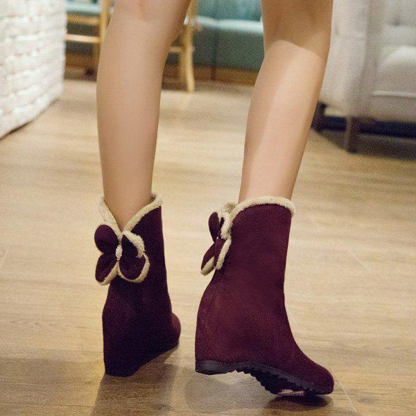 Bow Hidden Wedge Mid Calf Boots - WINE RED 39