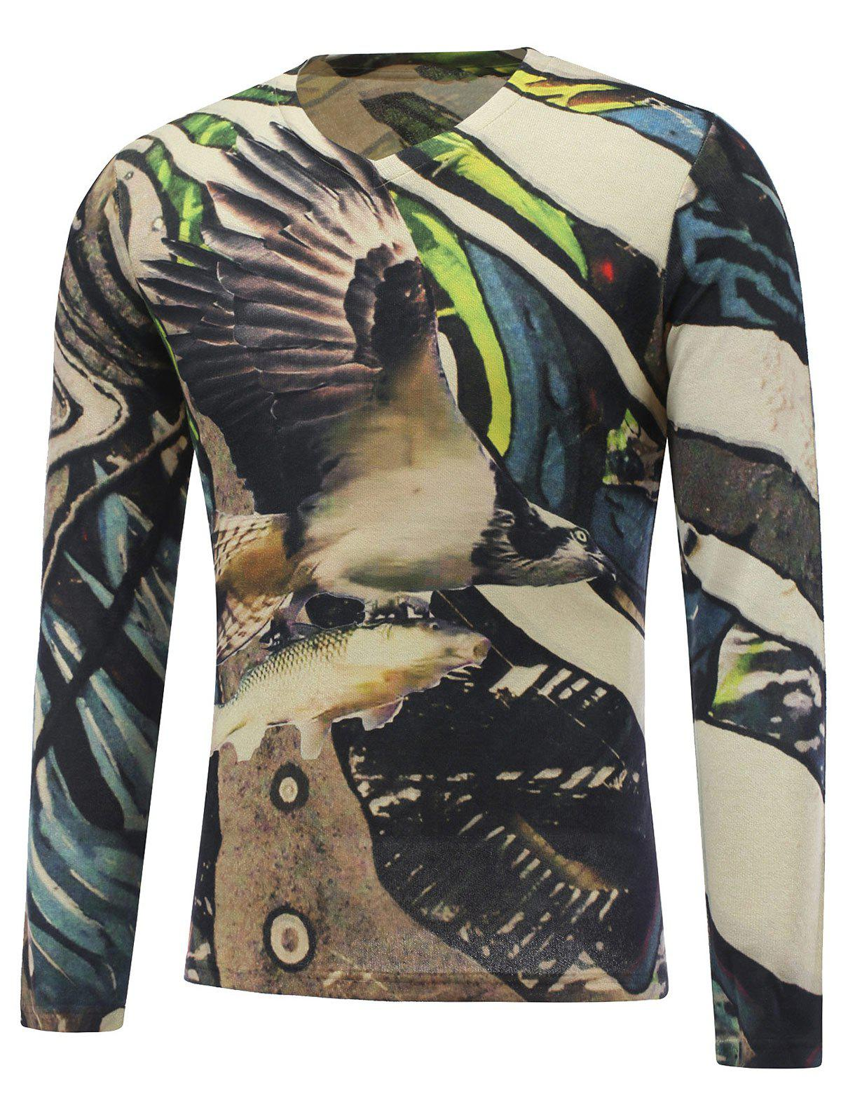 3D Animal Printed Long Sleeve V Neck T-Shirt - COLORMIX 3XL