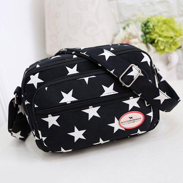 Colour Splicing Zippers Star Printed Crossbody Bag - BLACK