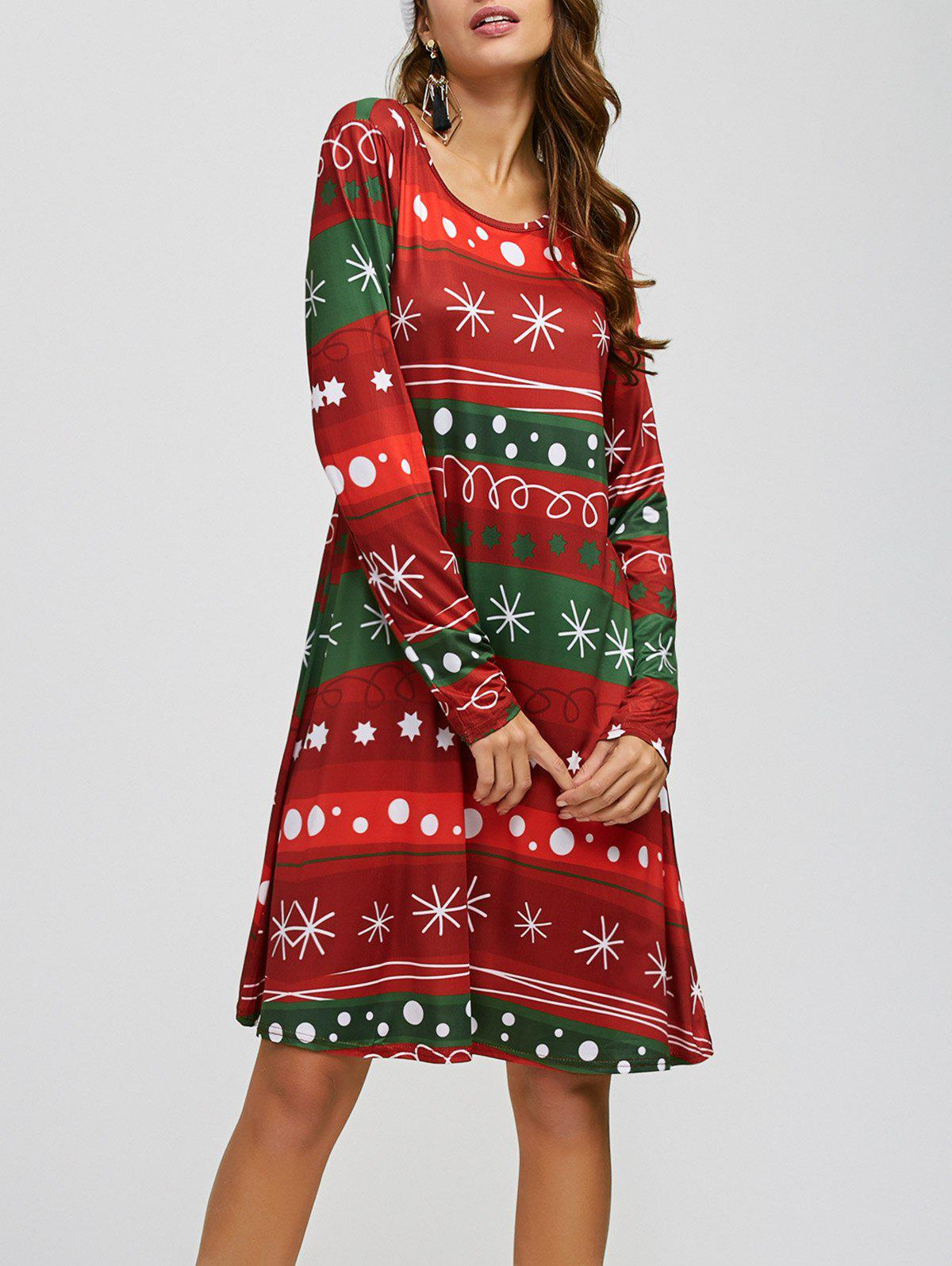 Snowflake Print Long Sleeves Xmas Swing Dress long sleeves layered swing sweater dress