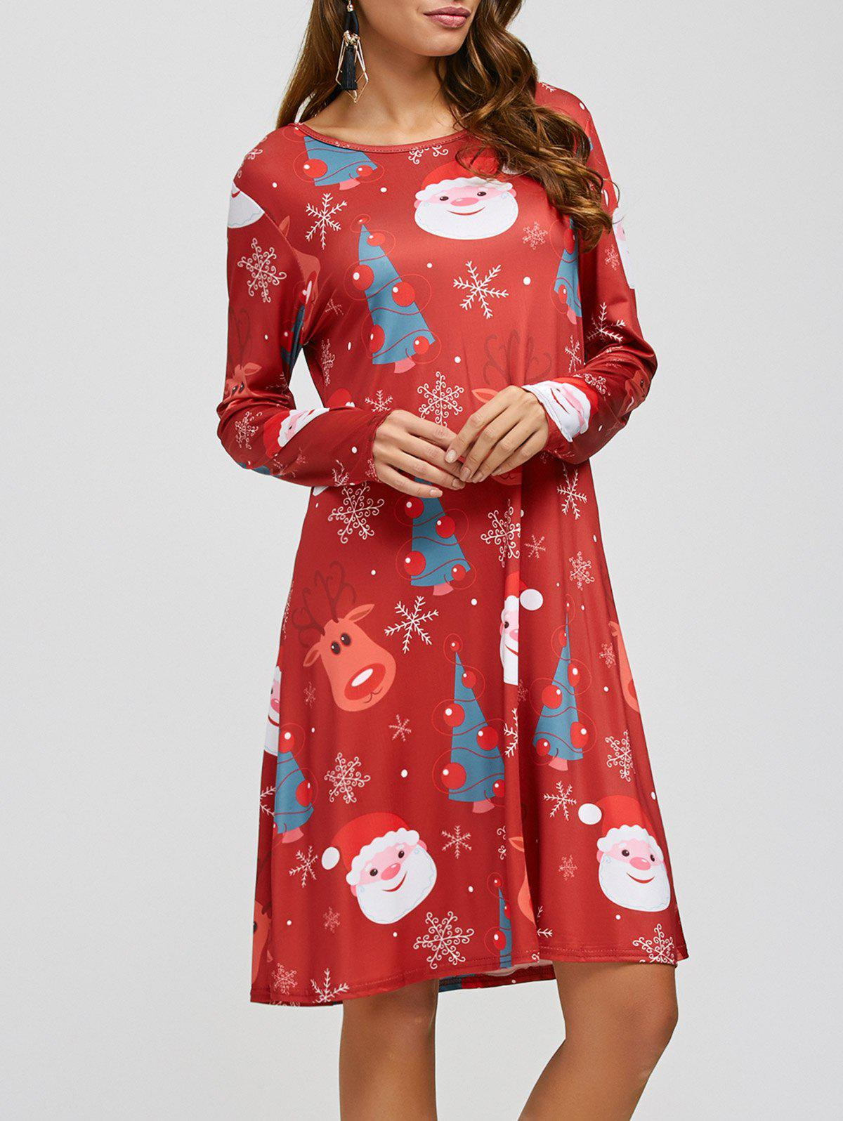 Christmas Santa Elk Print A-Line Dress - RED ONE SIZE