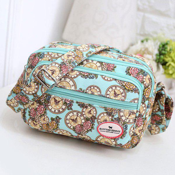 Canvas Color Spliced Clock Pattern Crossbody BagBags<br><br><br>Color: LIGHT GREEN