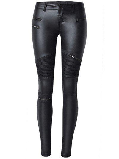 Faux Leather Zippered Slimming Pants - BLACK 44