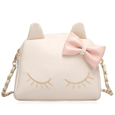 Cute Cat Shape and Bow Design Women's Crossbody Bag - WHITE