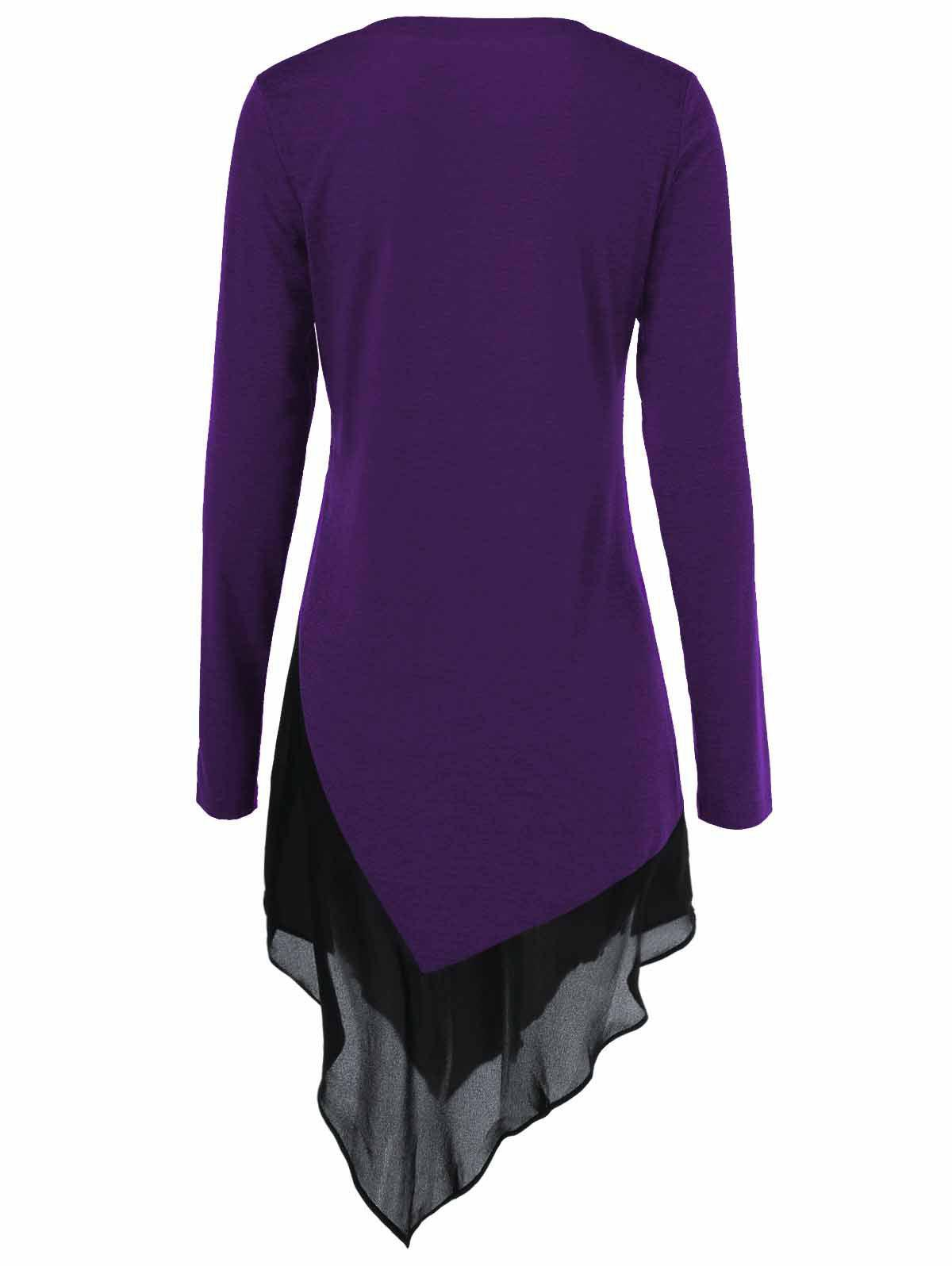 Chiffon Trim Asymmetrical Long Blouse - PURPLE L