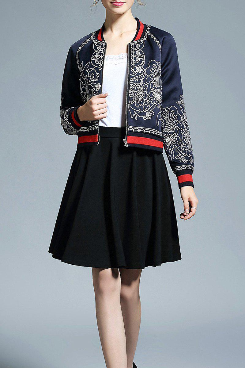 Zip Embroidered JacketWomen<br><br><br>Size: XL<br>Color: PURPLISH BLUE