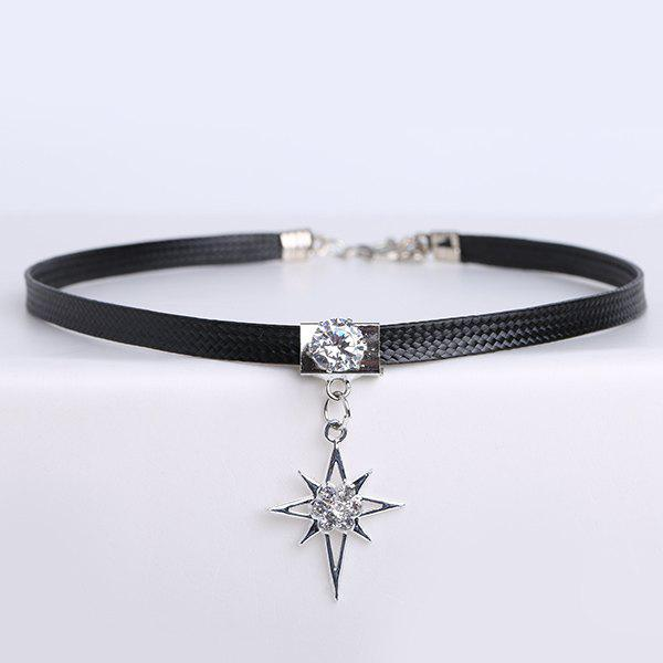 Faux Leather Rhinestone Star Choker Necklace - BLACK