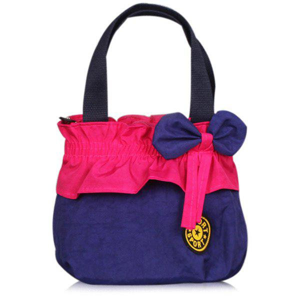 Colour Block Bow Elastic Tote Bag