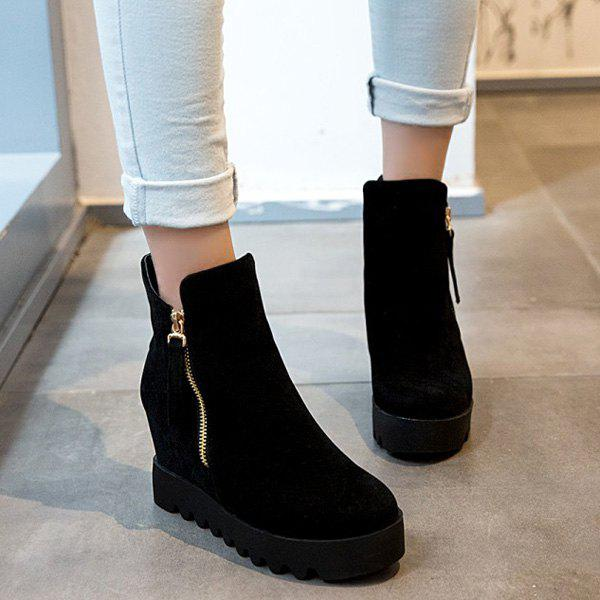 Hidden Wedge Platform Suede Ankle Boots - BLACK 37