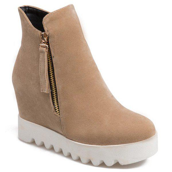 Hidden Wedge Platform Suede Ankle Boots - BEIGE 39