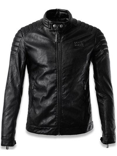 Buy Stand Collar Faux Leather Zip Jacket BLACK