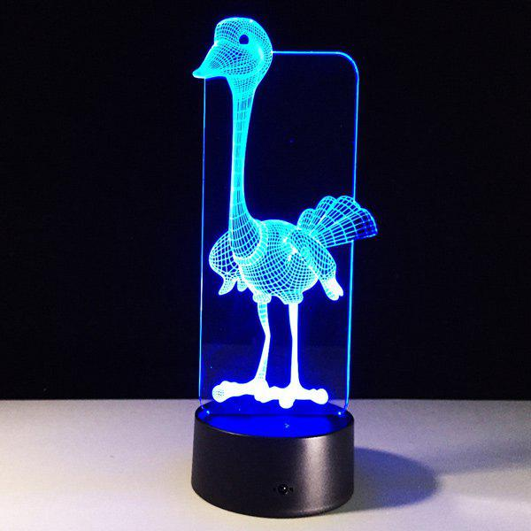 3D visuel 7 Changement de couleur Forme d'autruche tactile LED Night Light - coloré