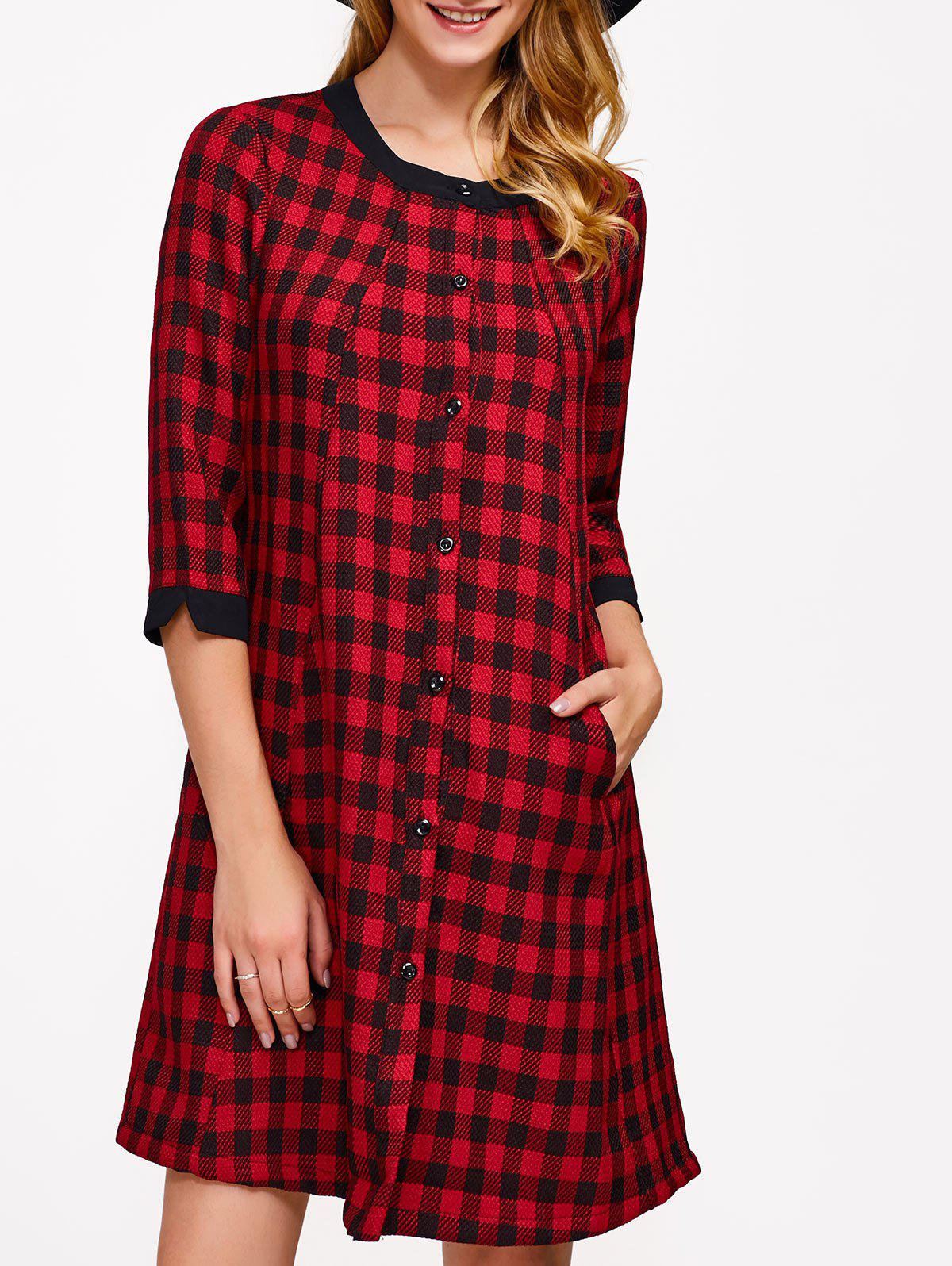 Checked Single-Breasted A-Line Dress - RED M