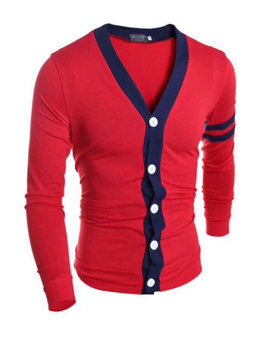 Stylish V-Neck Color Block Stripes Purfled Design Long Sleeves Cotton Blend Cardigan For Men - RED M