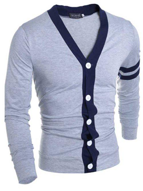 Stylish V-Neck Color Block Stripes Purfled Design Long Sleeves Cotton Blend Cardigan For Men - GRAY M