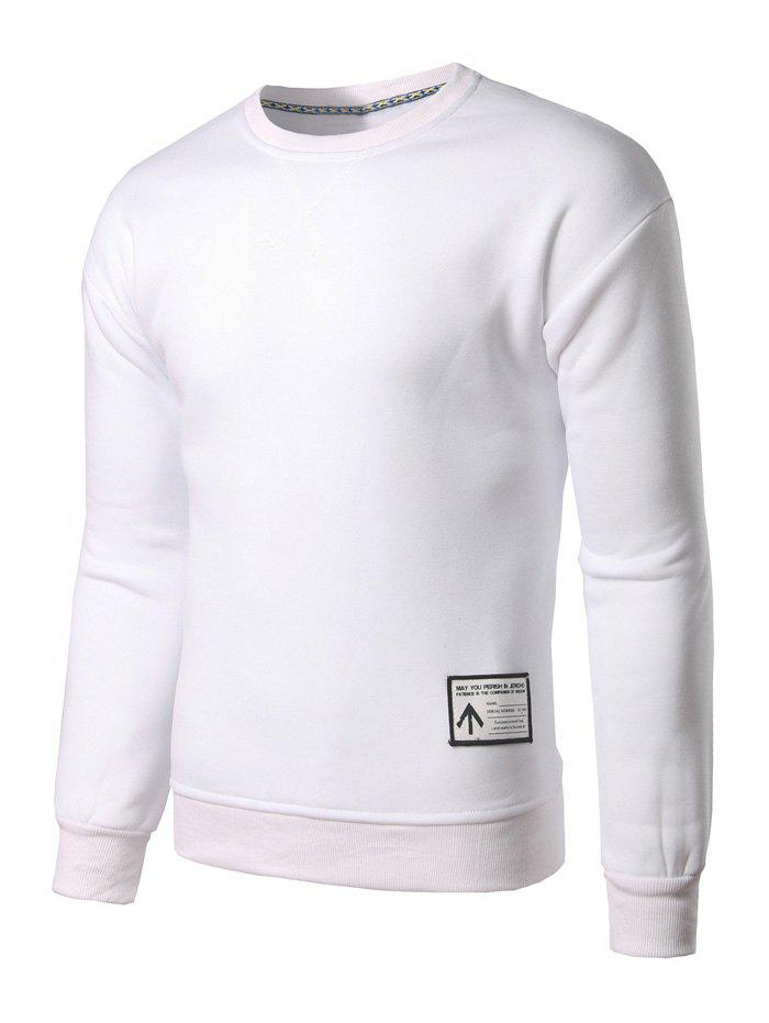 Crew Neck Patch Design Sweatshirt - WHITE M