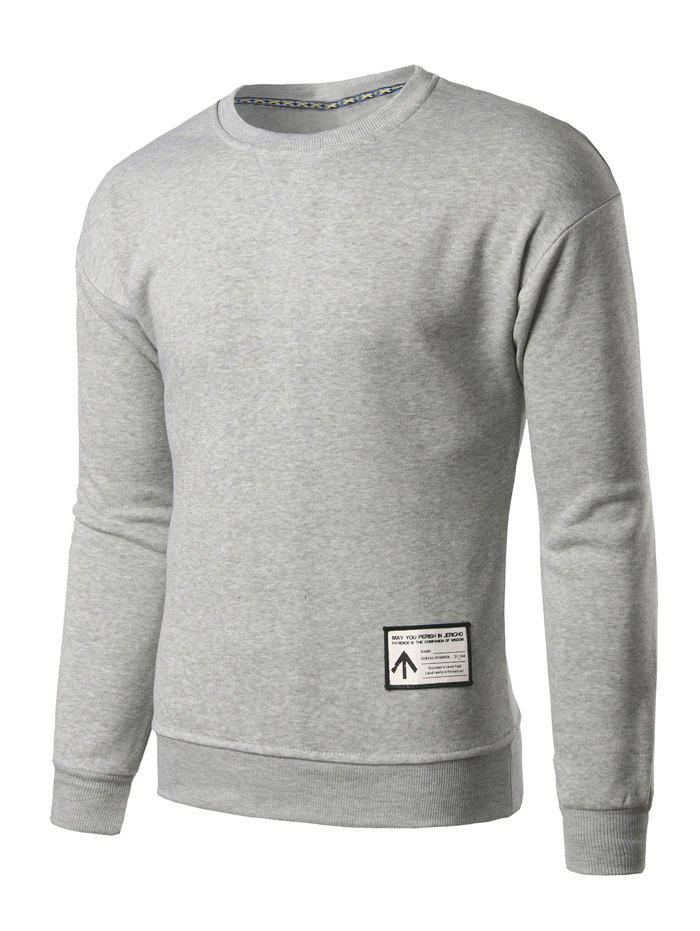 Crew Neck Patch Design Sweatshirt - LIGHT GREY M