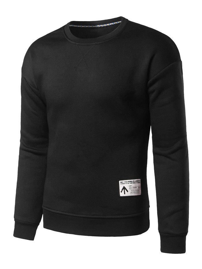 Crew Neck Patch Design Sweatshirt - BLACK L