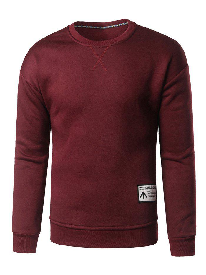 Crew Neck Patch Design Sweatshirt - BURGUNDY 2XL
