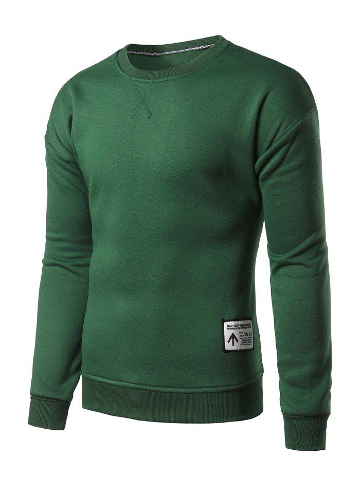 Crew Neck Patch Design Sweatshirt - BLACKISH GREEN L