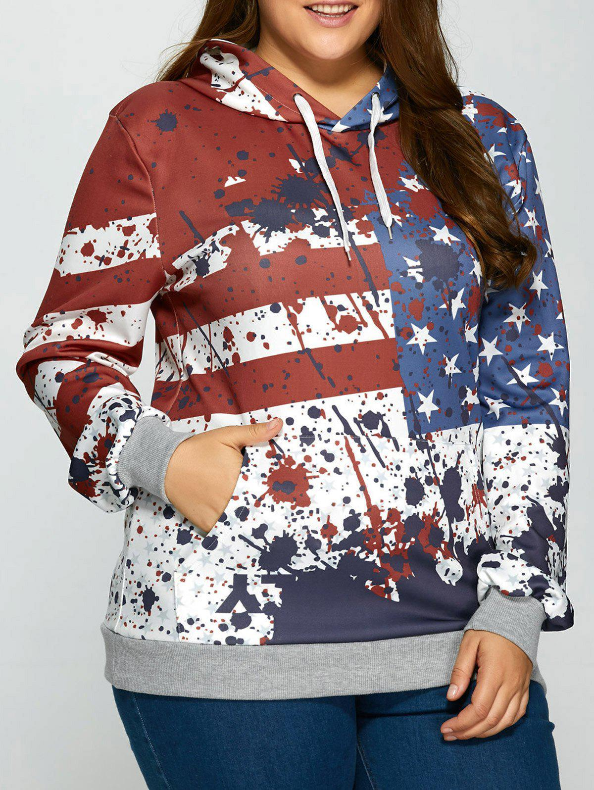 Splashed Ink American Flag Kangaroo Pocket Hoodie - COLORMIX 2XL