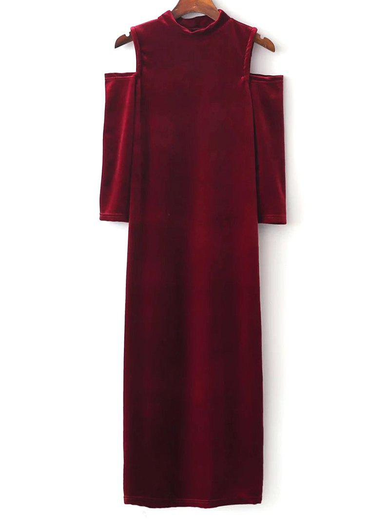 Velvet Cold Shoulder Midi Bodycon Dress - RED M