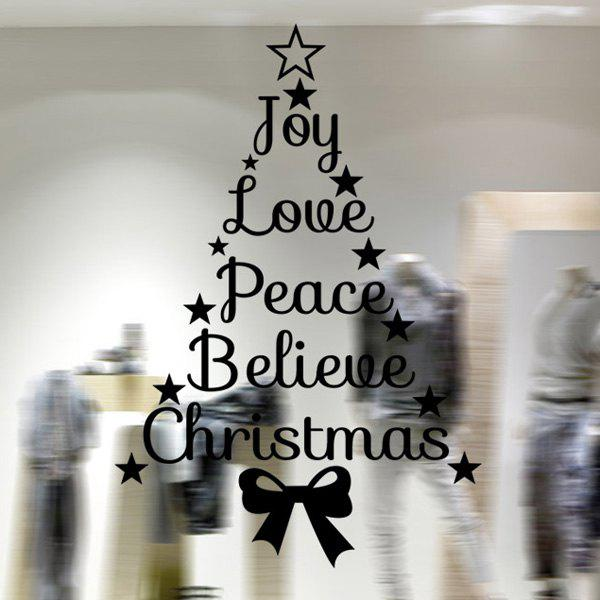 Christmas Letters Window Decor Removable Wall Stickers hanging flowers removable home window decor wall stickers