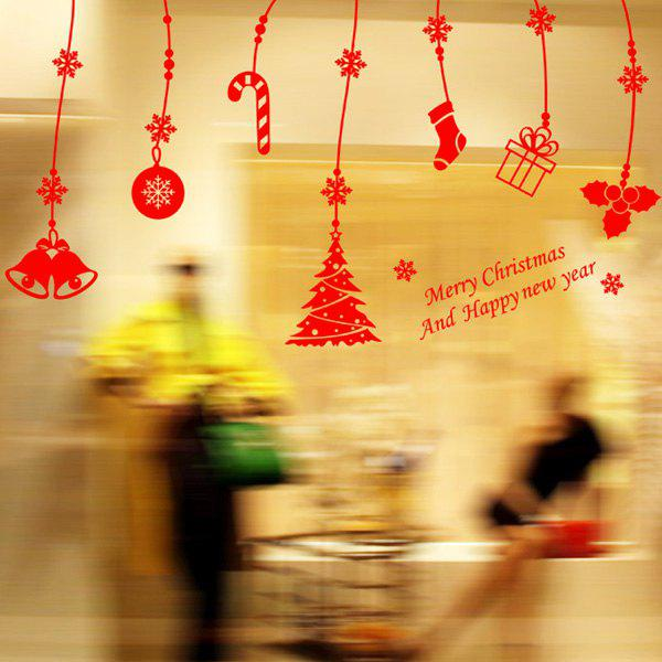 Christmas Gift Pendants Removable Window Decor Wall StickersHome<br><br><br>Color: RED