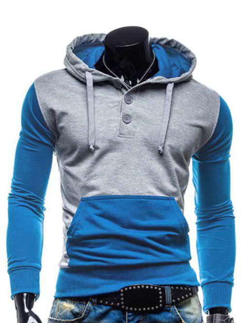 Slimming Hooded Modish Two Color Splicing Button Design Long Sleeve Cotton Blend Men's Hoodie - Bleu M