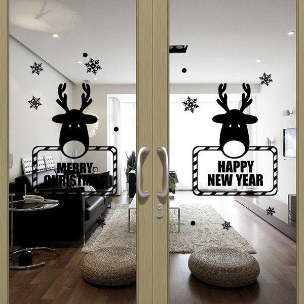 Christmas Deer New Year Removable Festival Door Wall Stickers family wall quote removable wall stickers home decal art mural