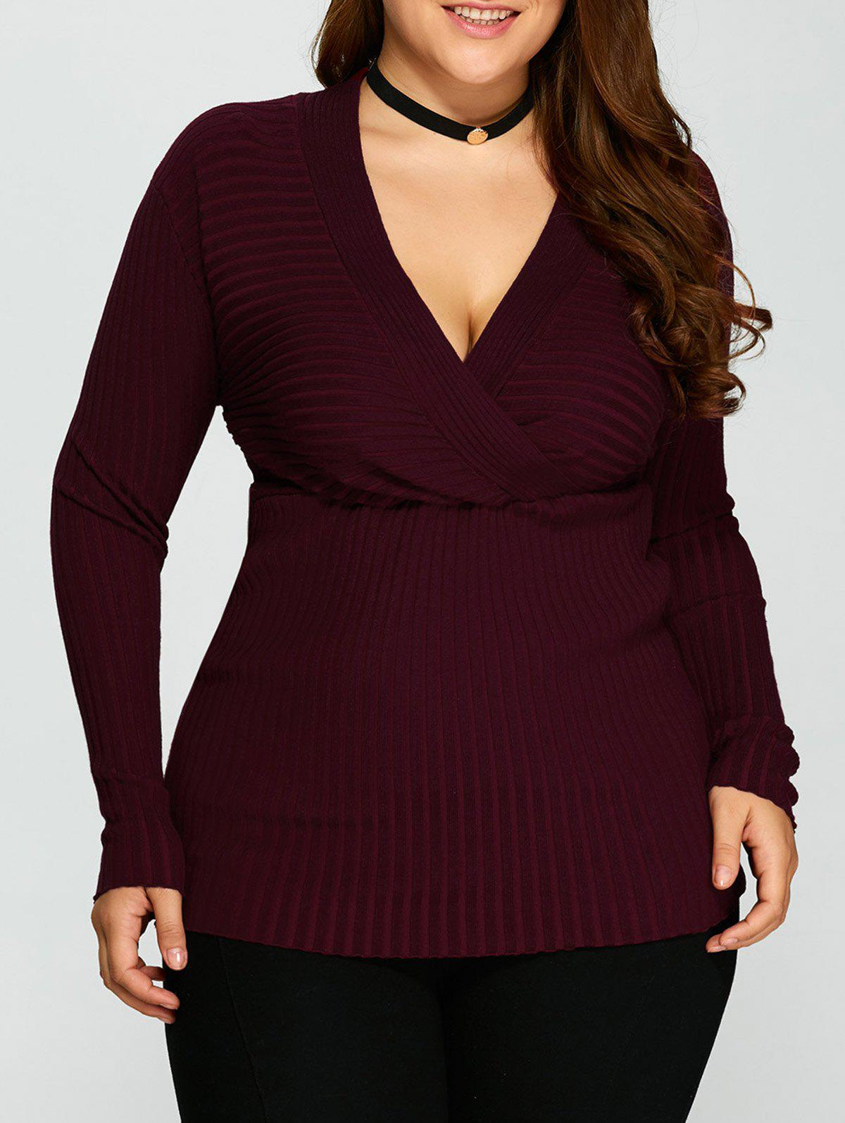 V Neck Plus Size Stripes Pattern Plain Sweater - PURPLISH RED C XL