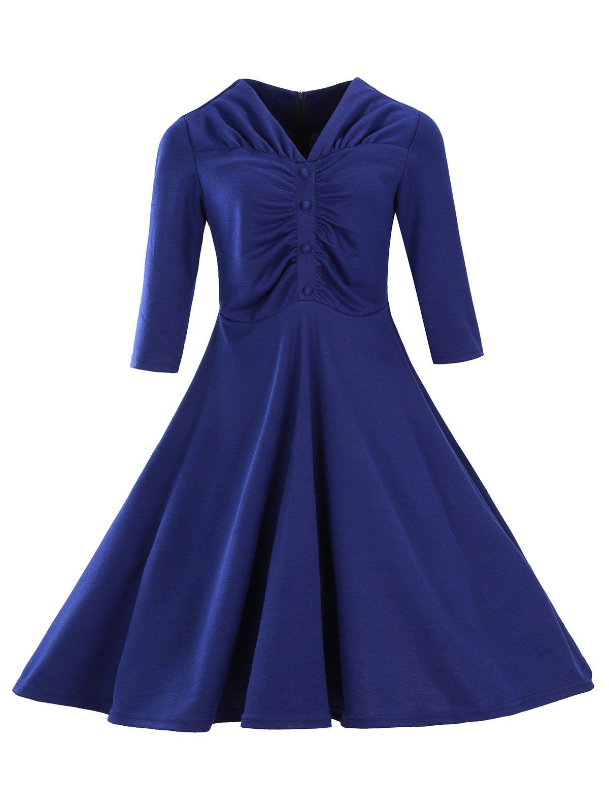 Retro Ruched Button Full Swing Midi Dress retro ruched swing pin up dress