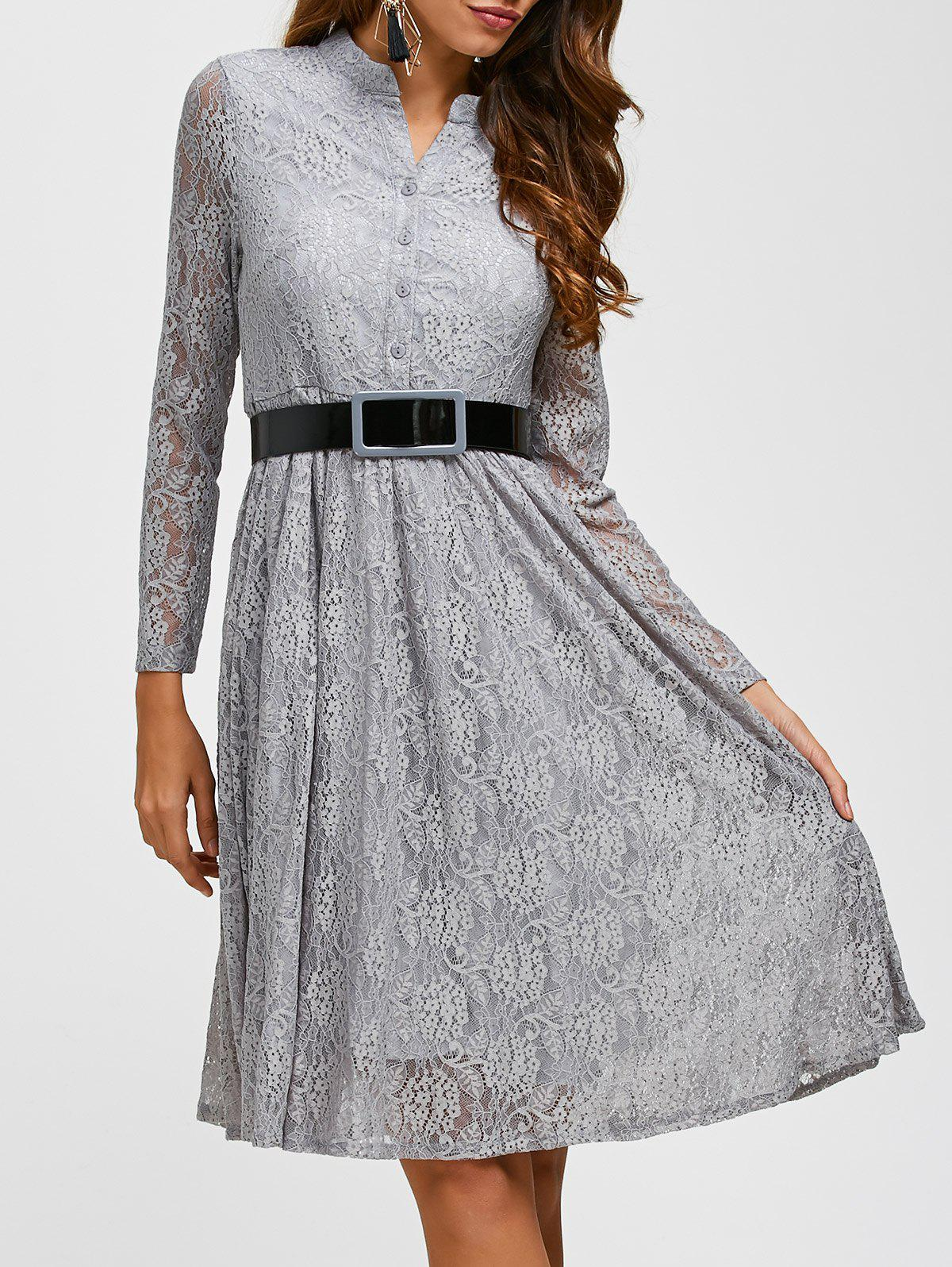 Lace Belted Long Sleeve Pleated Dress lace panel sleeve pleated dress