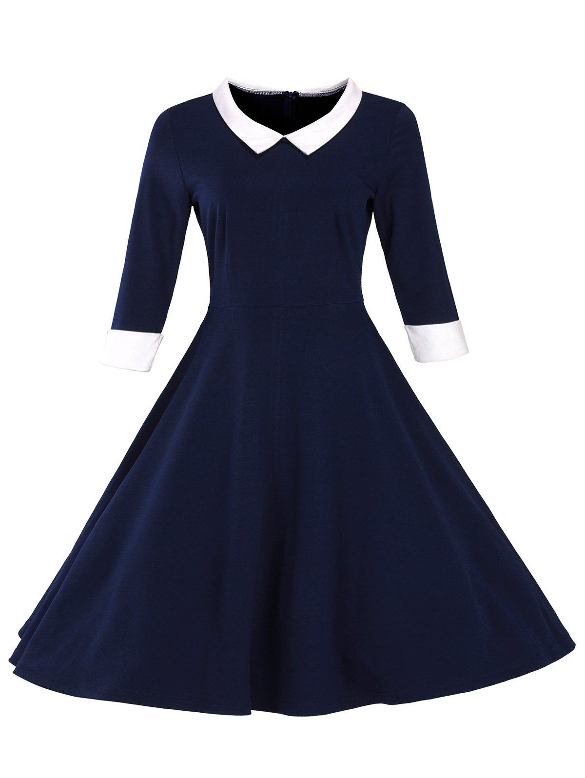 Retro Flat Collar Flare Dress - PURPLISH BLUE M