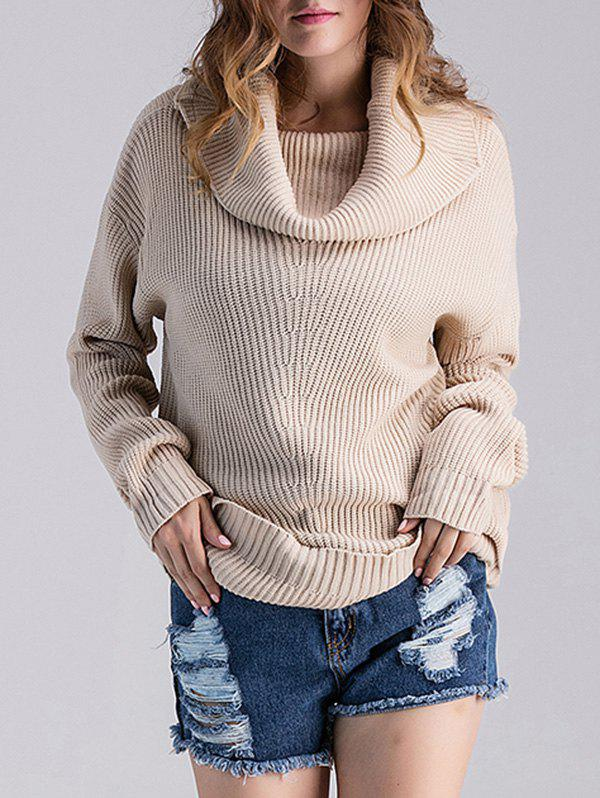 Loose Fit Ribbed Cowl Sweater 200436201