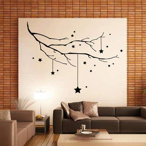 Christmas Stars Branches Removable Wall Stickers - BLACK