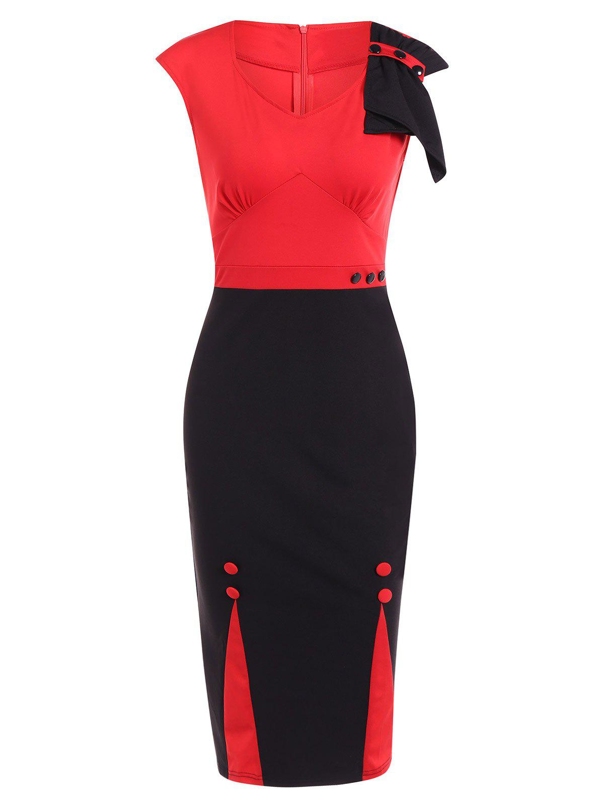 Two Tone Pencil Dress For WorkWomen<br><br><br>Size: M<br>Color: RED WITH BLACK
