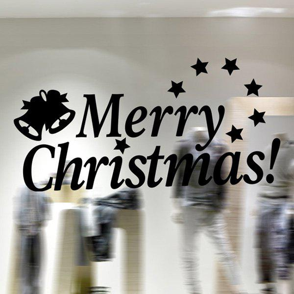 Letters Merry Christmas Removable Glass Window Wall Stickers - BLACK