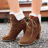 Trendy Tie Up and Suede Design Women's Short Boots - DEEP BROWN 39