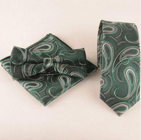 Business Suit Cashews Pattern Tie Pocket Square Bow Tie - LIGHT GREEN