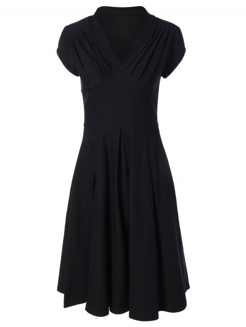 Summer Ruched Chest Swing Dress - BLACK XL