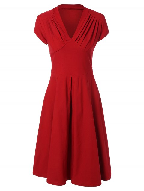 Summer Ruched Chest Swing Dress - RED XL