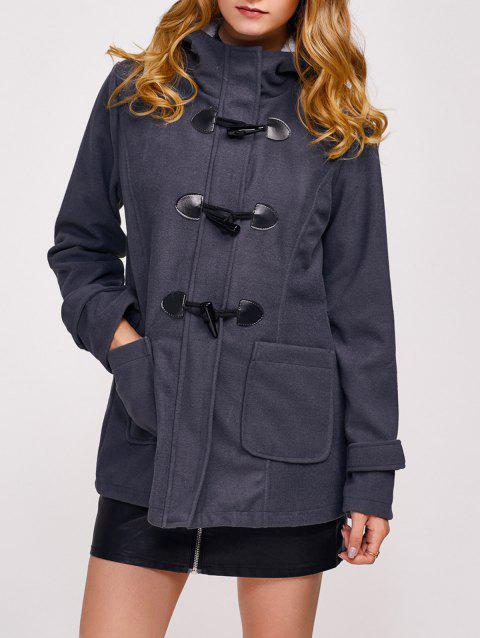 Zip Up Fleece Hooded Duffle Coat - DEEP GRAY XL